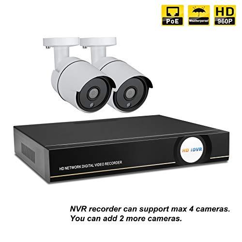 IMATEK Hausüberwachungssystem 960P, 4 Kanäle PoE NVR Kit w / 2PCS 960P Wetterfeste Kugel IP-Kameras, Fernüberwachungssystem. - Ip-kamera-kit