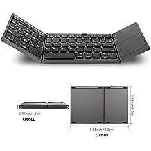 Tastiera Pieghevole Bluetooth Wireless con Touchpad Ultra Slim. Compatibile con Windows, Android e iOS, Smart Phone, TV