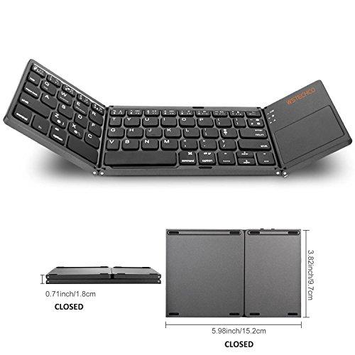 Tragbares Keyboard Tastatur mit Touchpad Bluetooth Wireless Ultra Slim Tastatur faltbar für Reisen mit Big Shift Key Pocket Größe, für PC, Tablets, Smart Telefon, TV, Schwarz (WSTECHCO)
