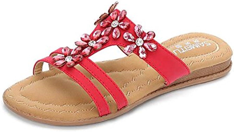 la plage ouverte chez les femmes shangxian pantoufle tep tong plates, sandales des chaussures plates, tong rouge, us9 / eu40 / uk7 / cn41 4d9419