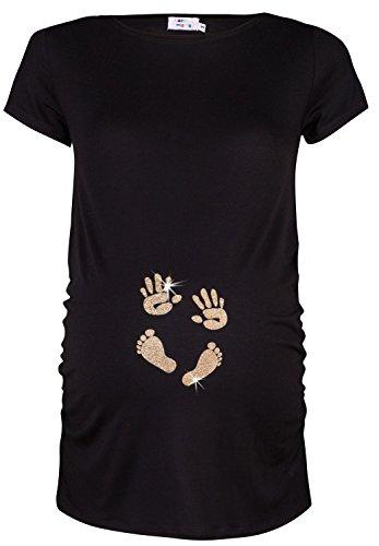 Happy Mama. Donna Maglietta Premaman Top T shirt Mani e Orma del Bambino. 013p