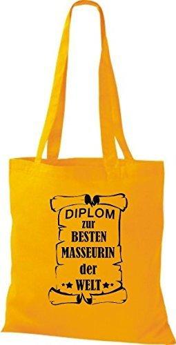 shirtstown Borsa di stoffa DIPLOM A MIGLIOR masseurin DEL MONDO Giallo