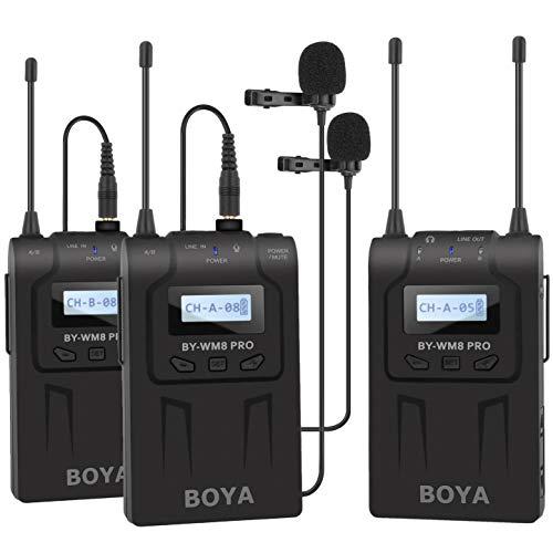 BOYA BY-WM8 Pro-K2 kabelloses Lavalier Mikrofonsystem Set Doppelkanal für professionelle Interviews Aufnahmen Präsentationen youtube videos mit Kamera Smartphones ENG EFP DSLR