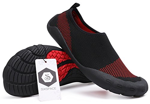 Sixspace Unisex Strandschuhe Aquaschuhe Schwimmschuhe Badeschuhe Wasserschuhe Surfschuhe mit Rutschfeste Sohlen für Damen Herren Schwarz/Rot