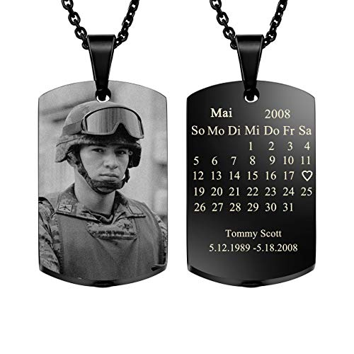 JOVIVI Gratis Gravur - Asche Memorial Schmuck Urne Gedenk Dogtag Anhänger Kette mit Fotogravur Kalender Kapsel Pendant Halskette
