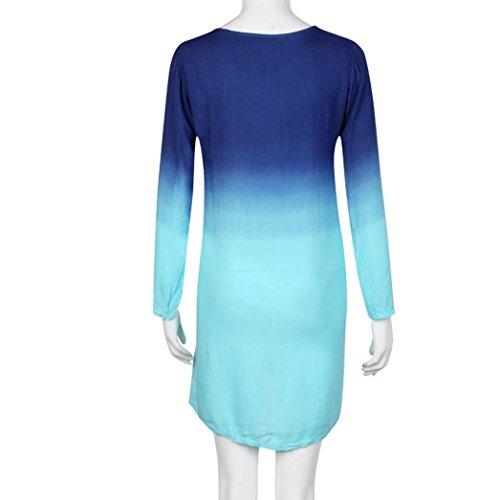 Robe,Tonwalk Femmes Manche longue Décontracté Loose Dégradé de couleur Court Mini robe Bleu