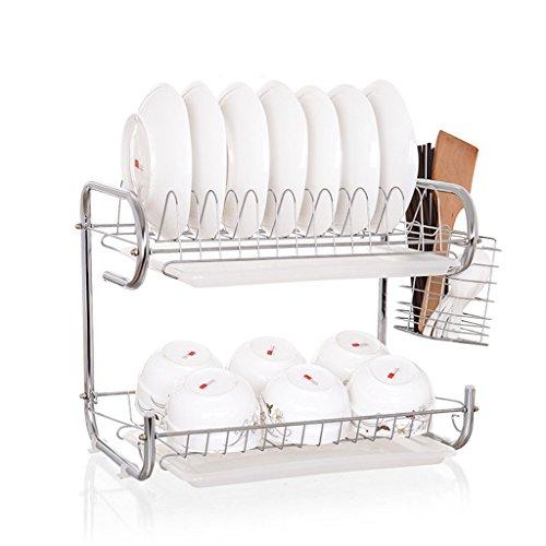 Étagère en cuvette en carton Bac à 2 niveaux Bac à eau double 9 Étagère en polypropylène Étagère à cuisine en acier inoxydable incorporé (Couleur : A, taille : 45 * 24 * 38CM)