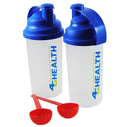 Preisvergleich Produktbild 4G-Health Doppelpack Eiweiß-Shaker Blau + 2 Dosierlöffel im Set als Eiweißshaker - Mixer - Cocktailshaker