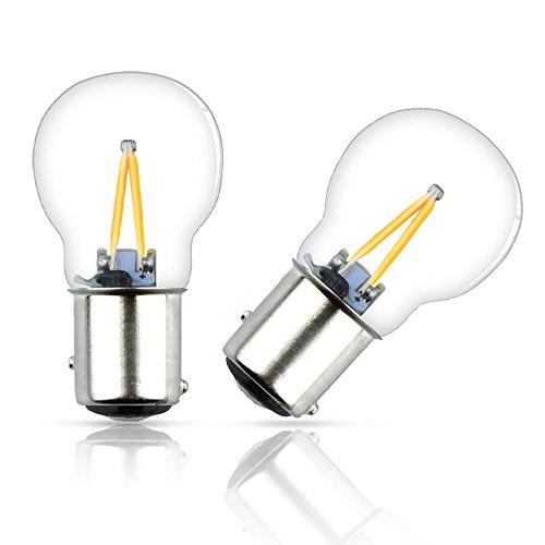 Luxvista Ba15D LED Birne Glühbirne Gelb 2W DC12-24V 1157 Doppelkontakt Bajonett Sockel Beleuchtung 2-Stück Nicht Dimmbar (Bajonett-sockel)