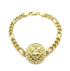 Bracelet pour homme de ton or à breloque Medusa, avec pierres de Strass, chaîne à maillons L.22,2 cm