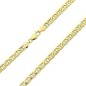 14 Karat 585 Gold Italienisch Flach Mariner Kette Gelbgold – Breite 3.10 mm – Länge wählbar