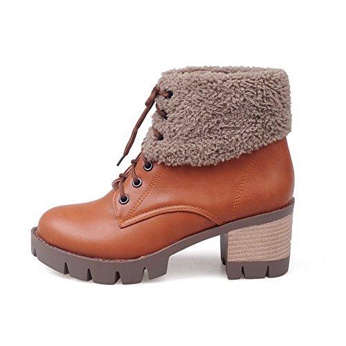 VogueZone009 Donna Luccichio Tacco Medio Punta Tonda Allacciare Stivali Giallo