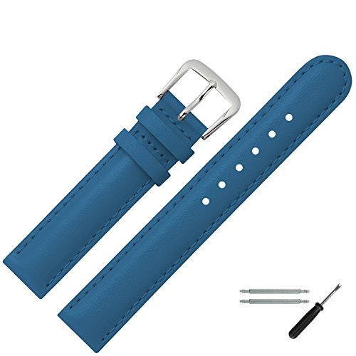 MARBURGER Uhrenarmband Leder set 2071250000120, Blau,12mm (XS Kinder)