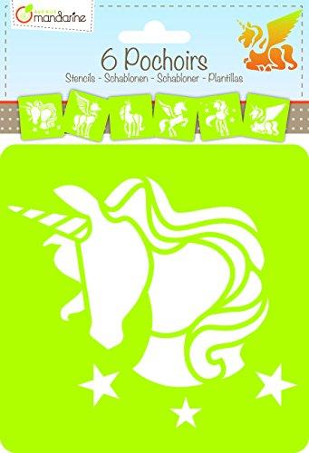 6 Schablonen Einhorn Motive - Bastel Schablone