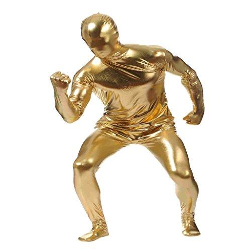 Suit Skin Kostüm - F Fityle Damen Herren Second Skin Kostüm Ganzkörperanzug Langarm Bodysuit Zentai Suit Catsuit für Fasching Halloween Karneval Mottoparty - Gold, m