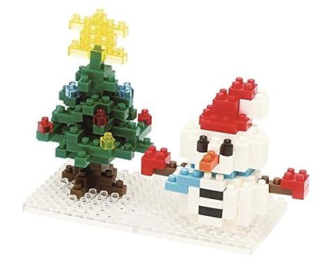 Nanoblock 14570 - Schneemann und Weihnachtsbaum, 3D-Puzzle, Mini Collection, 160 Teile