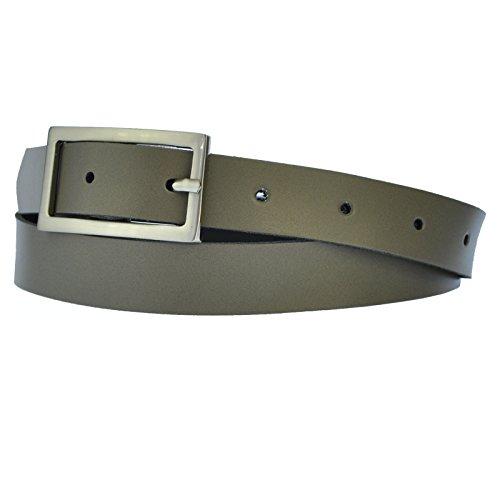 Schmal 2,5cm Breit Echt Leder Guertel mit 4 Eckiger Schnalle NL-Grau 110cm Bundweit -