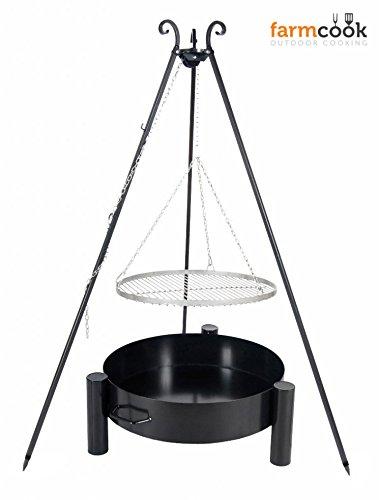 FARMCOOK Schwenkgrill Viking Dreibein mit Grillrost aus Edelstahl mit Feuerschale Pan 33 in 4 Größen (Rost Ø 70 cm; Feuerschale Ø 80 cm)