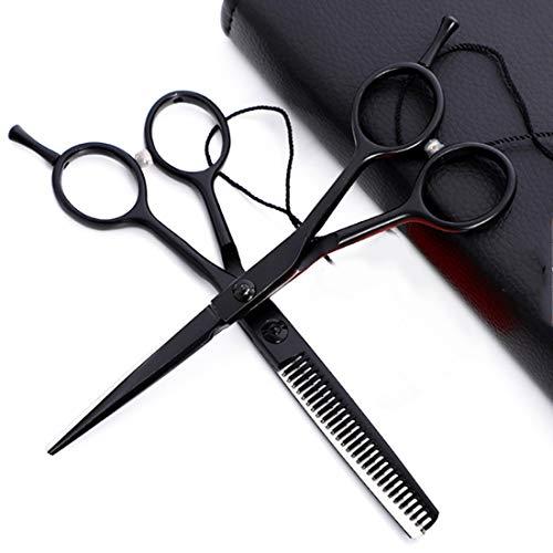 (Chengleilei Schere Haar Professionelle Schere Kit-Flat Schere/Zahn Schere-Farbe Farbe Friseur Schere 5,5 Zoll (Farbe : Black flat+tooth suit))
