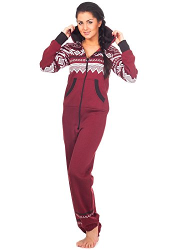 Loomiloo® Jumpsuit Onesie Overall als Freizeitanzug Hausanzug Trainingsanzug Pyjama für Damen und Herren (S/M, Weinrot)