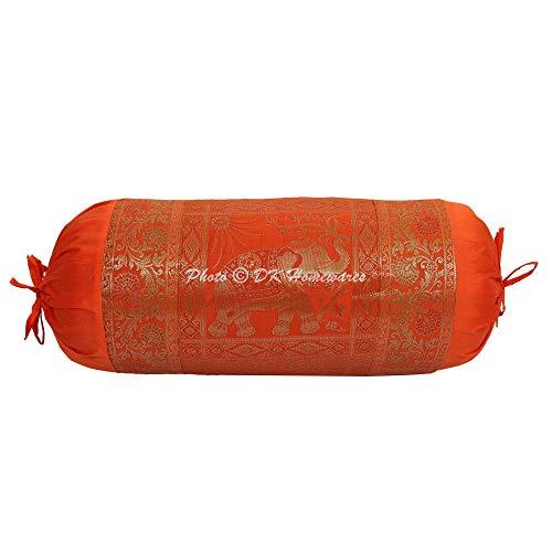 DK Homewares Tradicional Casa Decoración 76 X 38 Cm Fundas De Almohada De Yoga Seda Brocado Jacquard Floral Elefante Cilíndrico Fundas De Almohada Cervical (Naranja ; 30 X 15 Pulgadas) -1 Pc