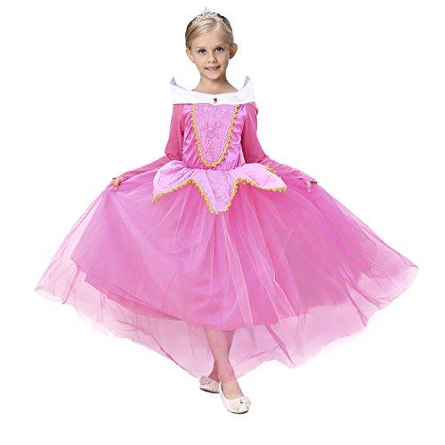 in Kostüm Kinder Glanz Kleid Mädchen Weihnachten Verkleidung Fest Grimms Märchen Kostüm Cosplay Traumhaftes Prinzessinnen Kleid (Rosa, Etikett 110 für Höhe 104-110cm) (Dornröschen Blaues Kleid Kostüm)
