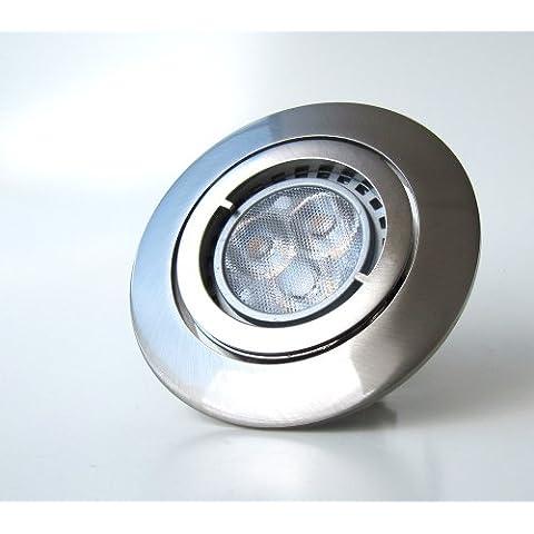 1 x faretto da incasso PAGO 230 V - Colore: In acciaio inox spazzolato - con libero lampadina LED, SMD e alogene fino a 50 Watt - dimmerabile, orientabile moderno 8: 5 Watt LED Warm-Weiß