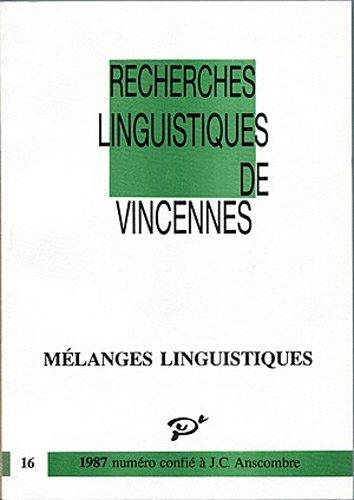 Mlanges linguistiques, numro 16, 1987