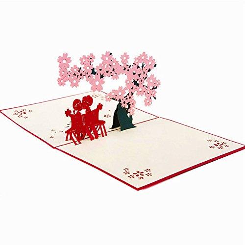 Kofun Vatertag Geschenke, Grußkarte mit Umschlag, Hochzeit Einladung Brief 3D-Karte Umschläge Dichtungen Custom Sakura Liebe personalisiert drucken