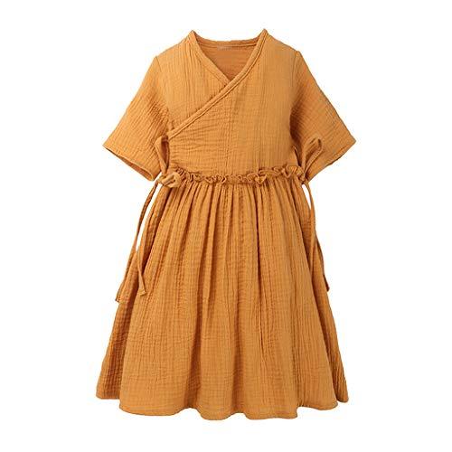 LEXUPE Kleinkind Kinder Baby Mädchen Leinen Rüschen Prinzessin Casual Beach Dress Outfits Kleidung(Gelb,110)