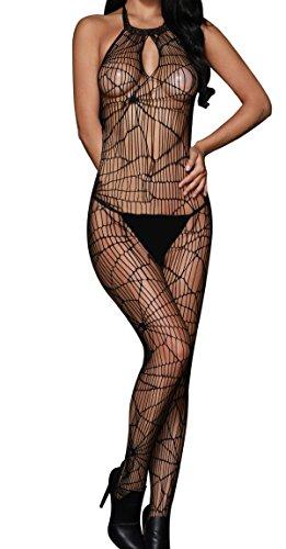 Neckholder-bodystocking (HO-Ersoka Damen Bodystocking Catsuit Neckholder Spinnen Netz Muster schwarz)