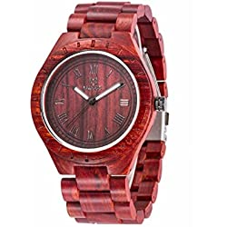 Uwood Sandalwood Natural Wooden Watch Mens Quartz Watches Japanese Quartz Movement Perfect as a Christmas Present Red