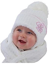 Wintermütze mit Schal Mädchen Baby 0,6 - 2 Jahre Edelmütze Farbe: Ivory