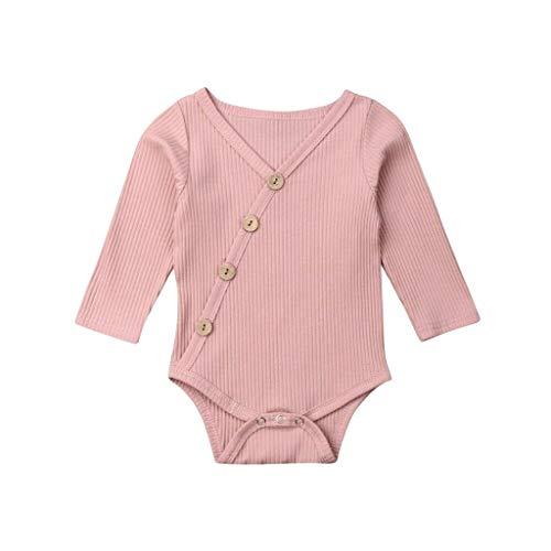 Livoral Madchen Kleider Sommer Kleinkind Baby Kinder Mädchen Jungen Langarm Feste Strampler Bodysuit Freizeitkleidung(Rosa,100)