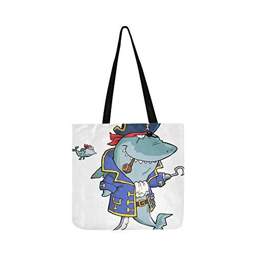 Piraten Toter Kostüm - Cartoon Piratenhai Mit Schiffswrack Leinwand Tote Handtasche Umhängetasche Crossbody Taschen Geldbörsen Für Männer Und Frauen Einkaufstasche