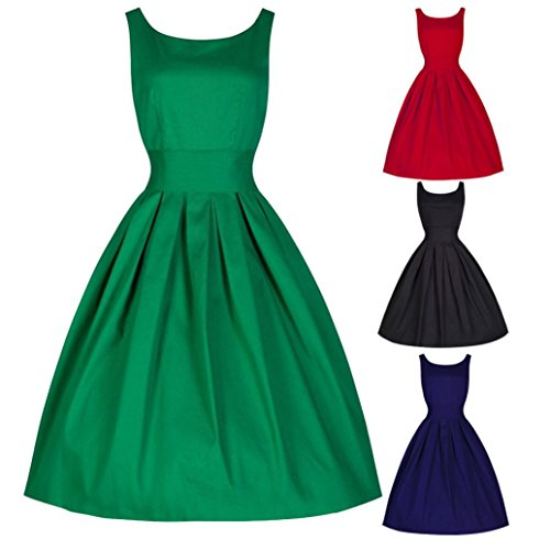 MORCHAN Vintage Style Femmes 50 Swing Retro Femme au Foyer Party Rockabilly Robe de soirée (L, Rouge)