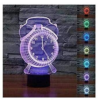3D Illusion Reloj despertador Lámpara luces de la noche ajustable 7 colores LED Creative Interruptor táctil estéreo visual atmósfera mesa regalo para Navidad