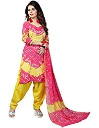 Taboody Empire Yellow & Pink Satin Cotton Handi Crafts Bandhani Work With Straight Salwar Suit For Girls And Women