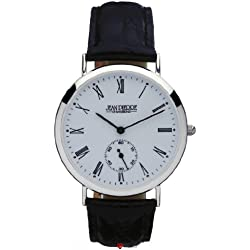 Gents Sterling Silver Wristwatch Roman Numerals Date Black Leather