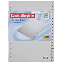 Idena 302001 A – Z Register A4 Pack of 20 Made of Plastic
