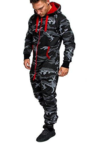 Amaci&Sons Herren Overall Jumpsuit Jogging Onesie Trainingsanzug Camouflage 3001 Camouflage Schwarz L