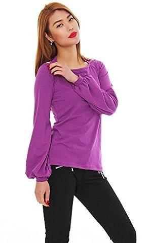 Amel Mississhop Damen Bluse Tunika Longshirt Top Shirt Pullover Lila L 38 40