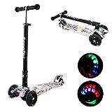 Kinder Roller Scooter 3 Räder Höhenverstellbarer Kinderroller mit LED Leuchträdern Rollen und Verstellbare Lenker für Kleinkinder, Mädchen oder Jungen ab 3 Jahren