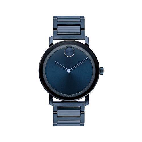 Movado Bold Homme 40mm Bracelet Acier Inoxydable Bleu Quartz Montre 3600510