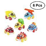 YeahiBaby Baby Spielzeugauto Set Baufahrzeuge Spielzeug Lernspielzeug Reibung Angetrieben für Kinder Kleinkinder 6 STÜCKE