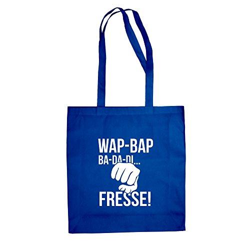 Jutebeutel Baumwolltasche - Wap Bap ...Fresse! - von SHIRT DEPARTMENT royalblau-weiss