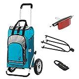 Andersen Einkaufstrolly Royal luftbereift mit Fahrrad-Anhängerkupplung für Gepäckträger und 60 Liter Einkaufstasche Hydro türkis mit Kühlfach