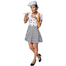 dressforfun Costume da donna cuoco | Con modello da cuoco a quadretti | Fantastico cappello da cuoco incluso (M | No. 301509)