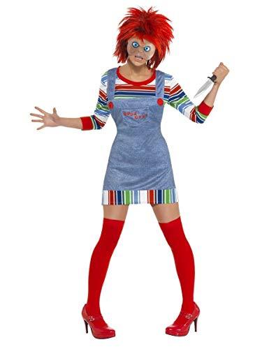 Damen Verkleidung Kostüm Chucky Puppe Halloween Film Verkleidung Mit Perücke EU 36-46 - Rot, EU 40-42 (Chucky Puppe Perücke)