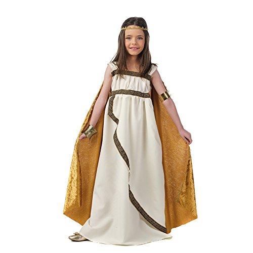 Römische Prinzessin Kostüme Kind (Griechische Prinzessin Kinder Kostüm creme gold Kleid mit Umhang und Stirnreif - 5/7)